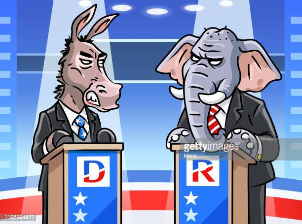 democratic donkey and republican elephant in tv debate - political rally stock illustrations