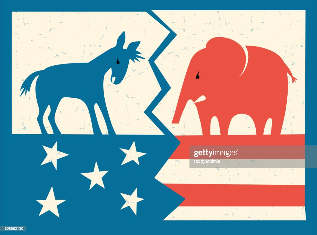 Democratic donkey and Republican elephant standing on fractured American flag. Vector illustration.