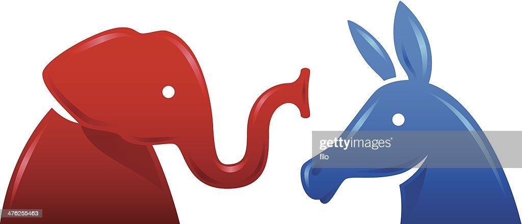 Democratic Donkey and Republican Elephant Symbols