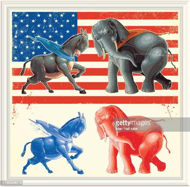 民主的ロバと共和象 - アメリカ共和党点のイラスト素材/クリップアート素材/マンガ素材/アイコン素材