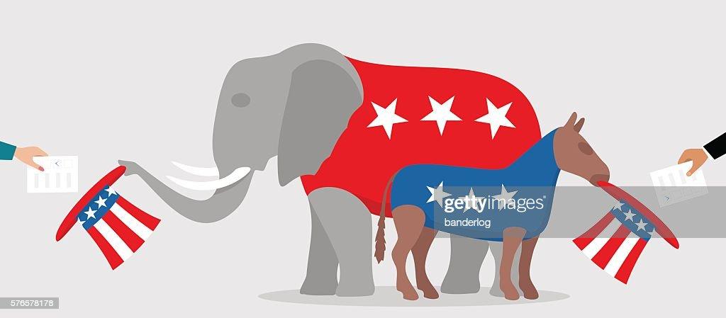 Democratic donkey and republican elephant