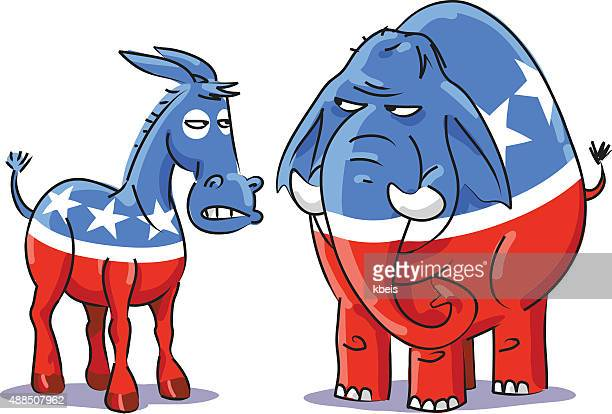 democratic donkey vs republican elephant - donkey stock illustrations