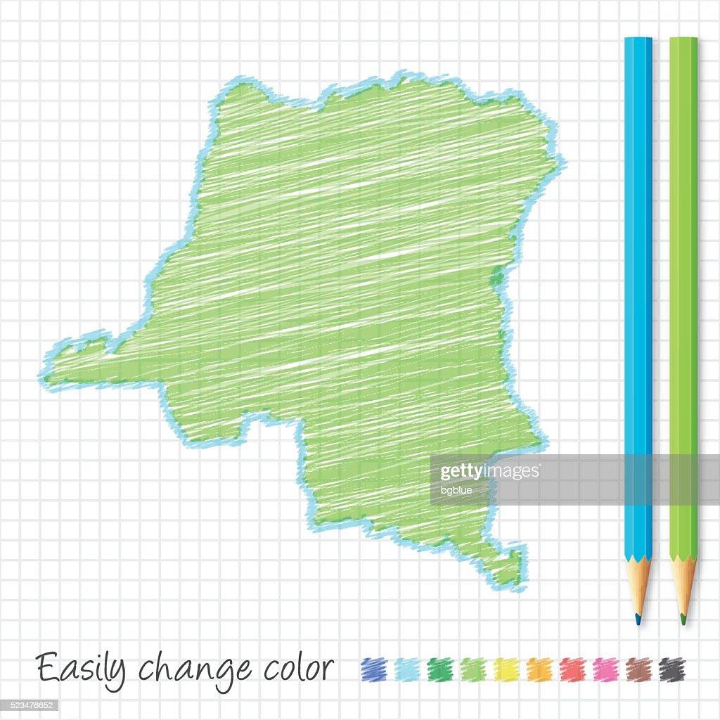 Democratic Republic Of Congo Map Sketch Color Pencils Grid Paper ...