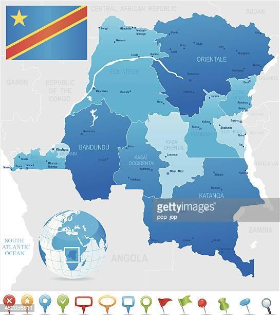 demokratische republik kongo karte-staaten, städte, flagge und symbole - kinshasa stock-grafiken, -clipart, -cartoons und -symbole