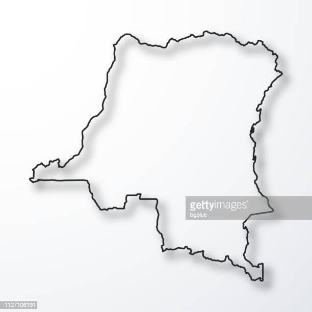 République démocratique de la carte du Congo - noir contour avec ombre sur fond blanc