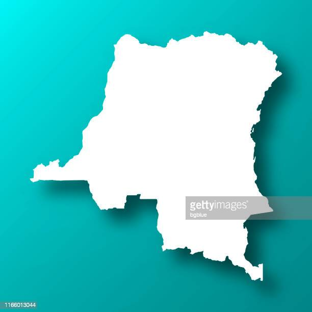 democratic republic of the congo map on blue green background with shadow - democratic republic of the congo stock illustrations