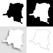 Democratic Republic of the Congo maps for design - Blank, white, black backgrounds