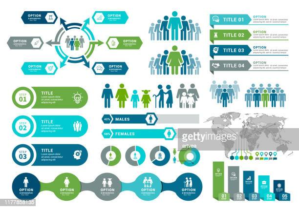 demographics infographic elements - graph stock illustrations
