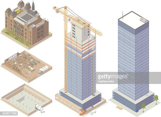 demolition and construction illustration - skyscraper stock illustrations