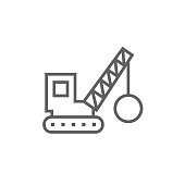 Demolition crane line icon