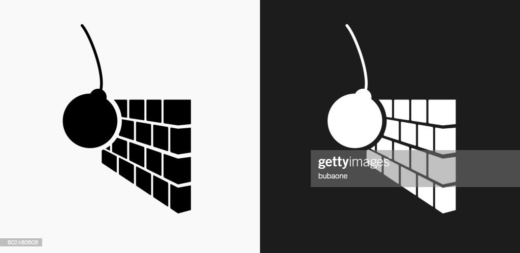 Demolition Icon on Black and White Vector Backgrounds