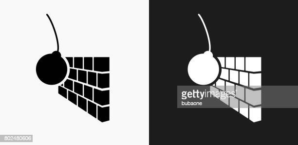 Abriss-Symbol auf schwarz-weiß-Vektor-Hintergründe