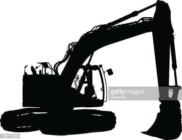 ilustraciones, imágenes clip art, dibujos animados e iconos de stock de tractor silueta de demolición - scoop shape