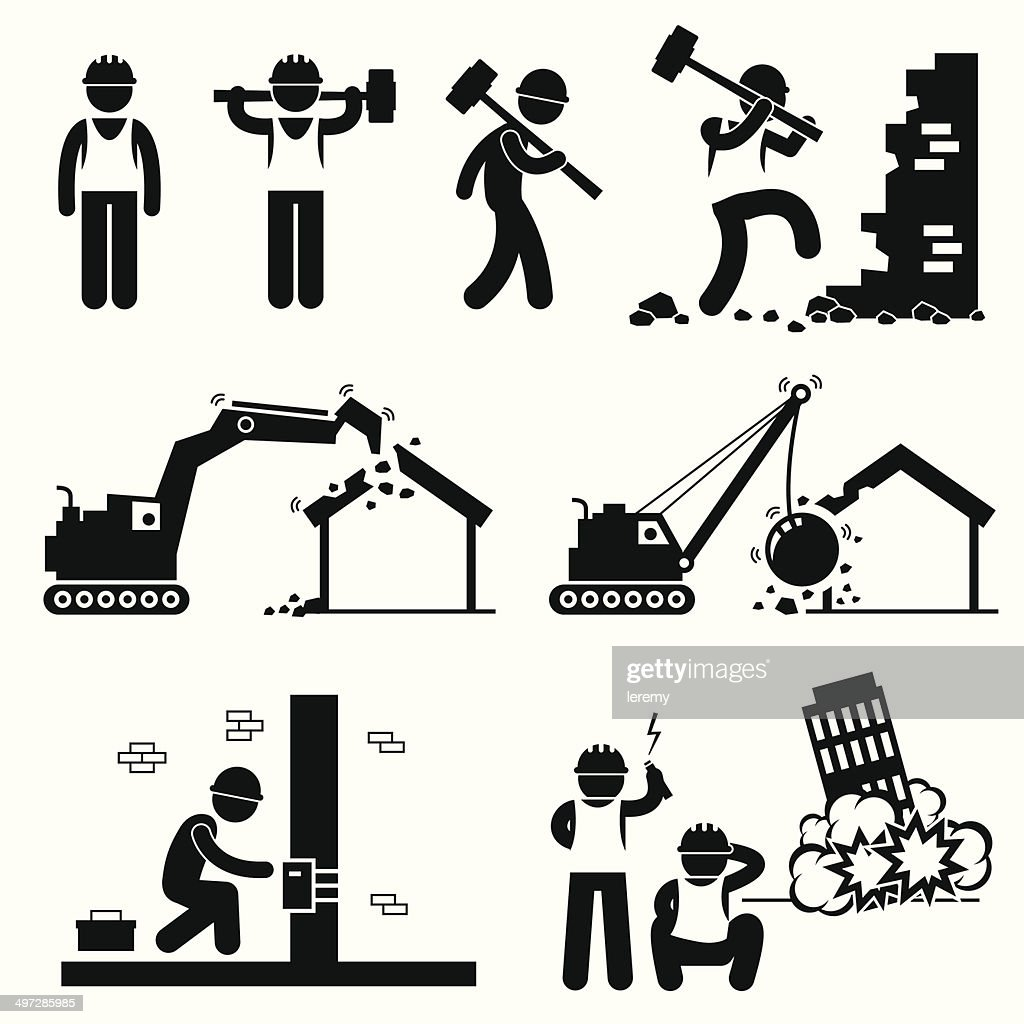 Demolition Worker Demolish Building Pictogram Icon Cliparts