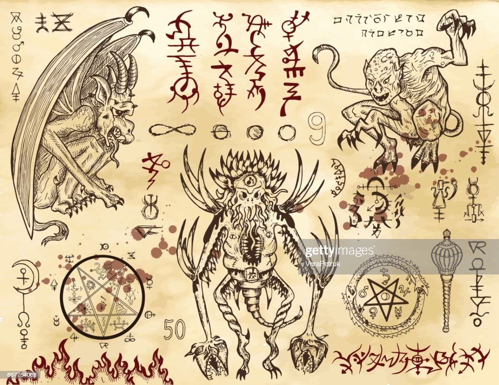 Demon collection with mystic and occult symbols