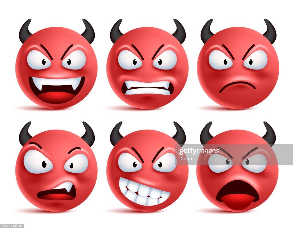 Demon smileys vector set. Devil smiley face or red emoticons