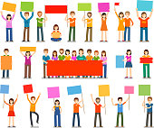 Demonstration or procession, parade icons. People with placards isolated on