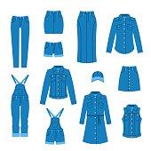 Denim clothes flat icons
