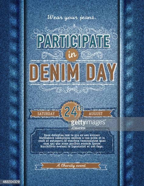 Denim jour de participation poster design template