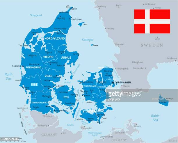 33 - denmark - blue gray 10 - cartography stock illustrations