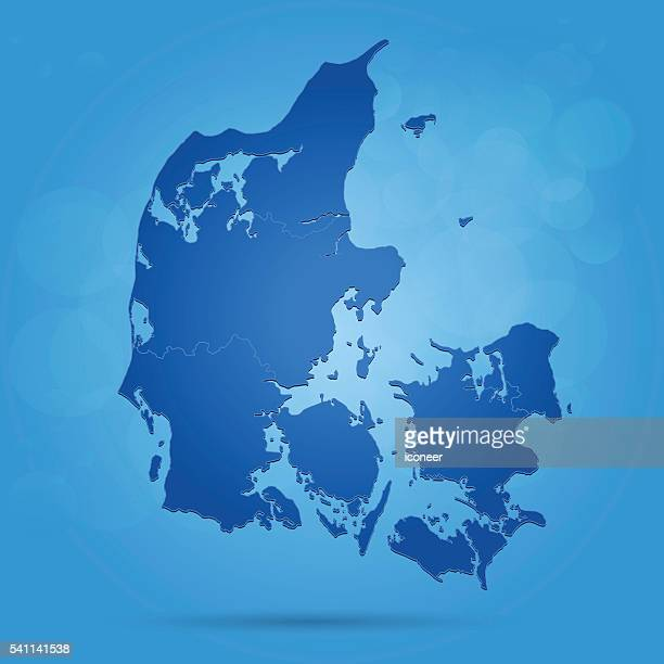 Denmark blue map with borders on glowing bubble background