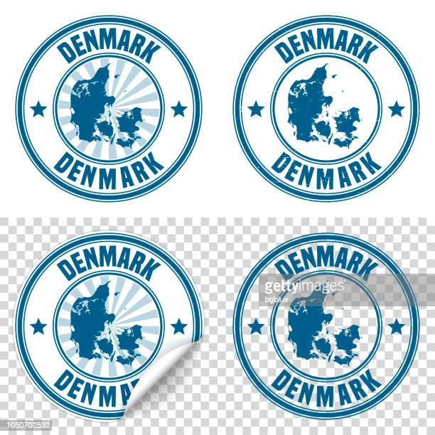 denmark - blue sticker and stamp with name and map - denmark stock illustrations
