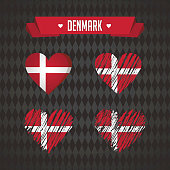Denmark. Collection of four vector hearts with flag. Heart silhouette