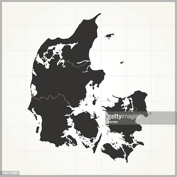 Denmark dark map on grey background with grid