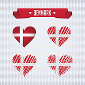 Denmark heart with flag inside. Grunge vector graphic symbols