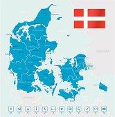 Denmark - highly detailed map