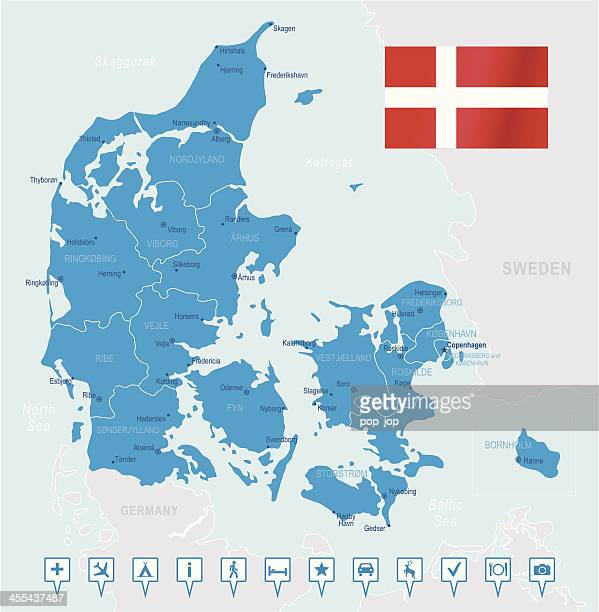 Denmark - highly detailed map