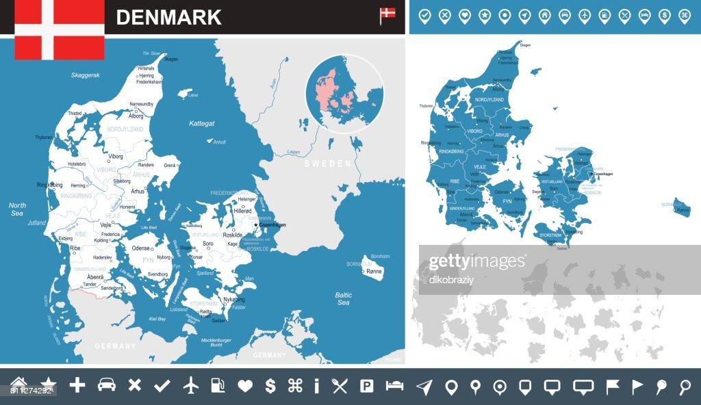 Denmark - infographic map and flag illustration
