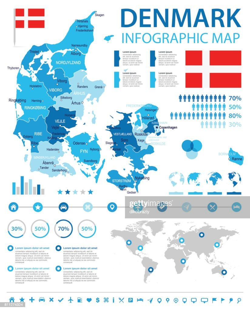 Denmark - infographic map and flag - illustration
