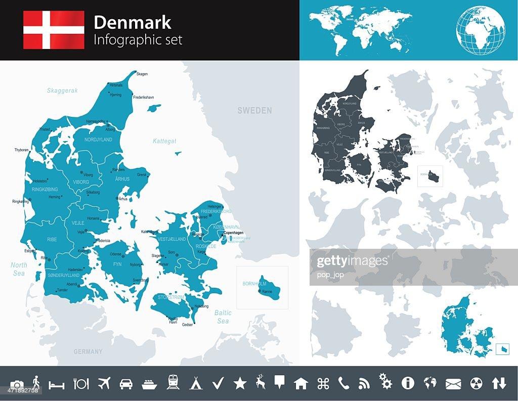 Denmark - Infographic map - illustration