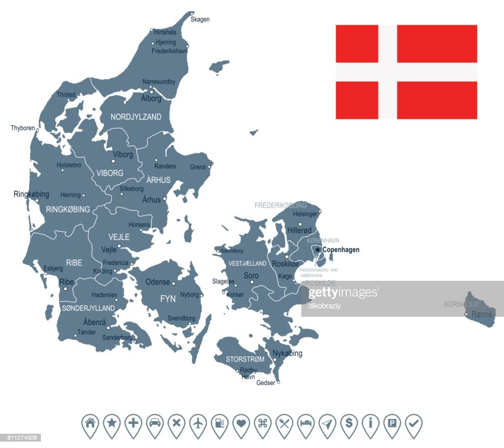Denmark - map and flag illustration