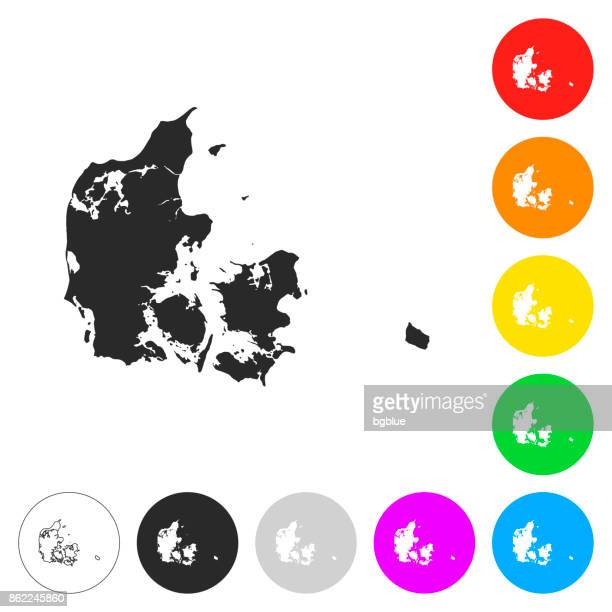Denmark map - Flat icons on different color buttons