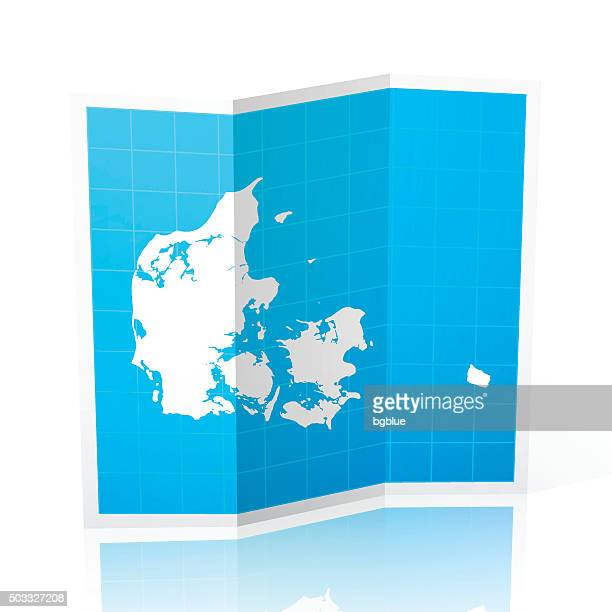 Denmark Map folded, isolated on white Background