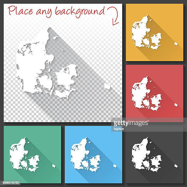 Denmark Map for design, Long Shadow, Flat Design