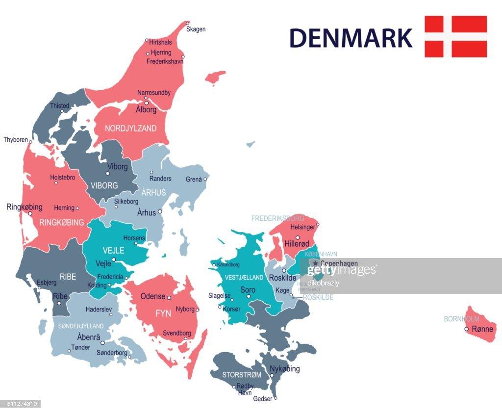 15 - Denmark map - Green Pink Gray 10