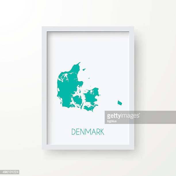 Denmark Map in Frame on White Background