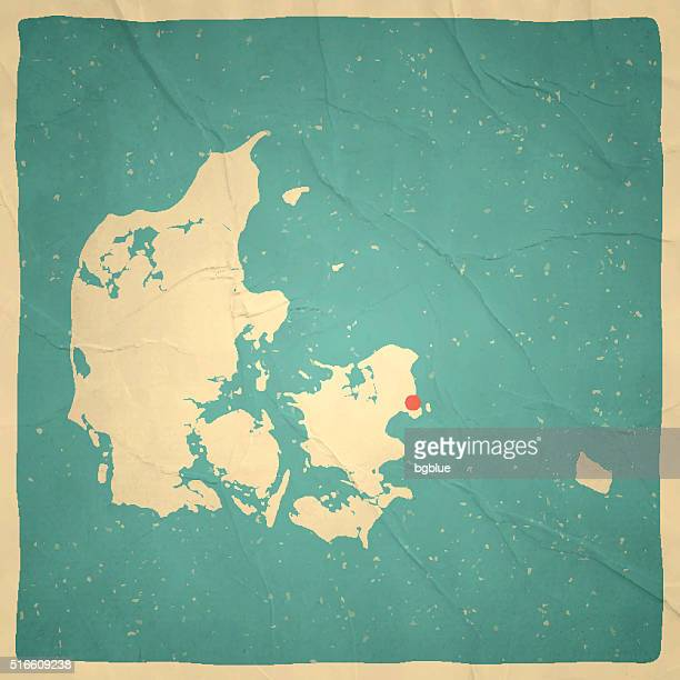 Denmark Map on old paper - vintage texture