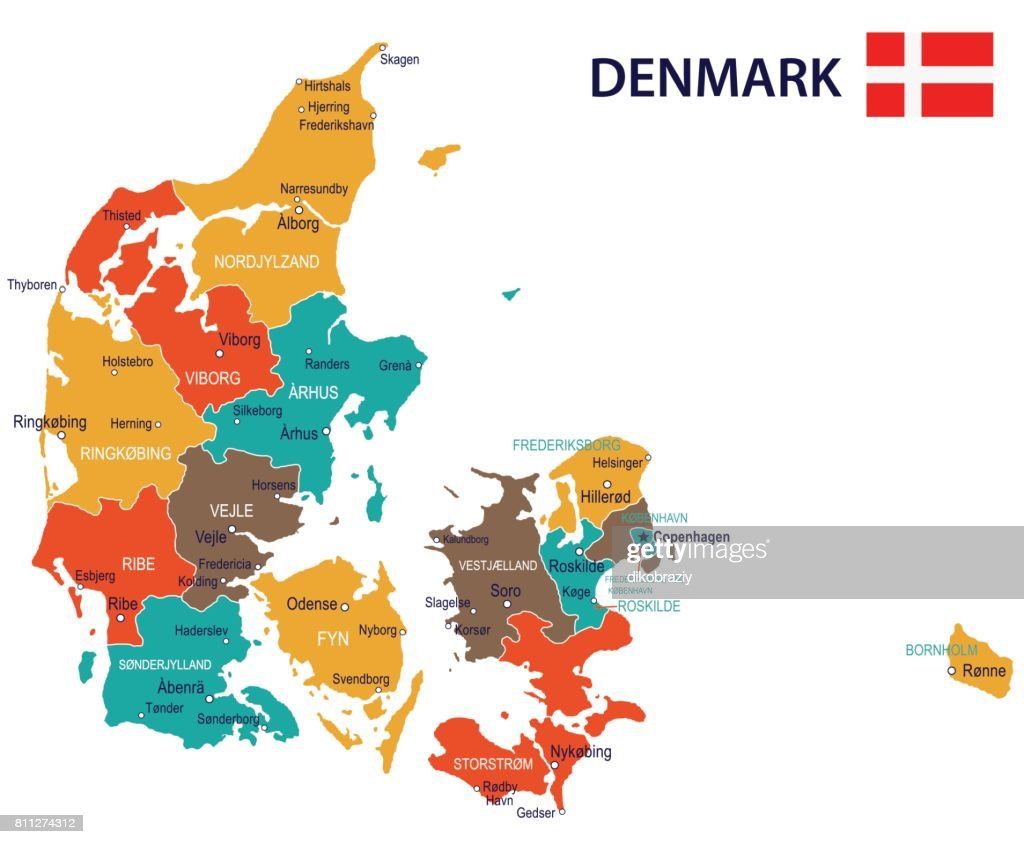 17 - Denmark map - Red Green Brown Yellow 10