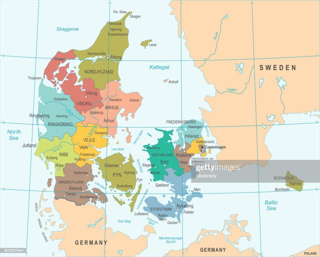 Denmark Map - Vector Illustration