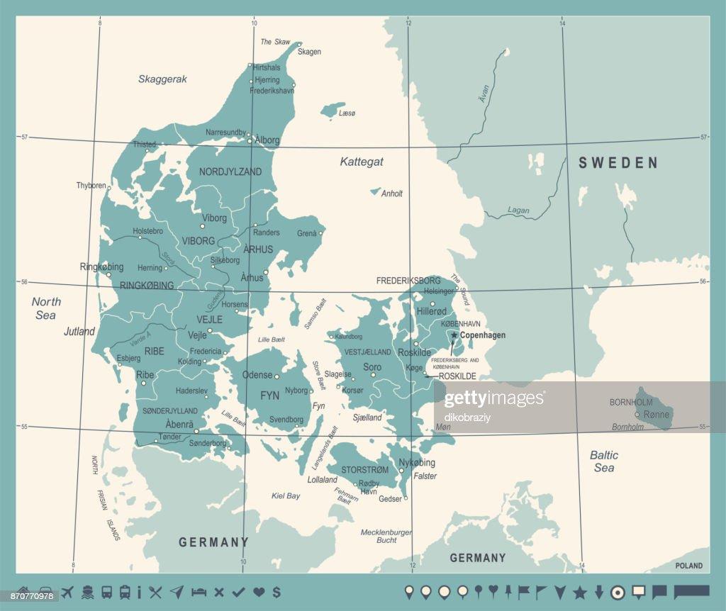 Denmark Map - Vintage Vector Illustration