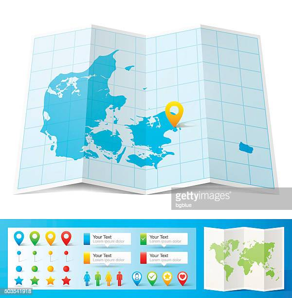 Denmark Map with location pins isolated on white Background