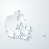 Denmark map with paper cut effect on blank background