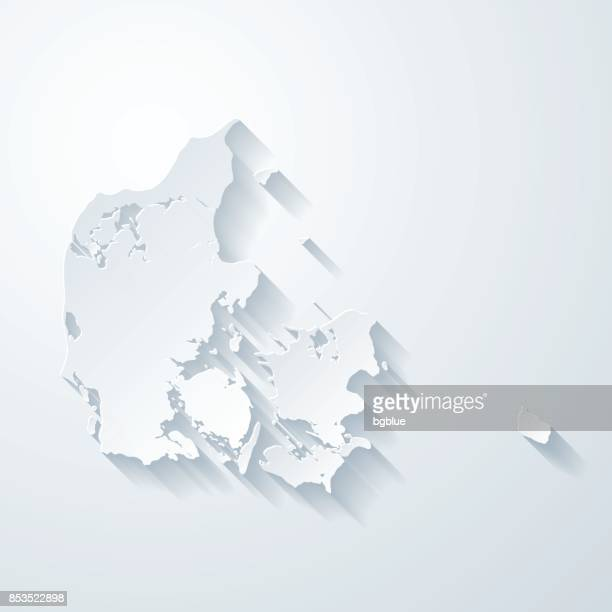 denmark map with paper cut effect on blank background - denmark stock illustrations