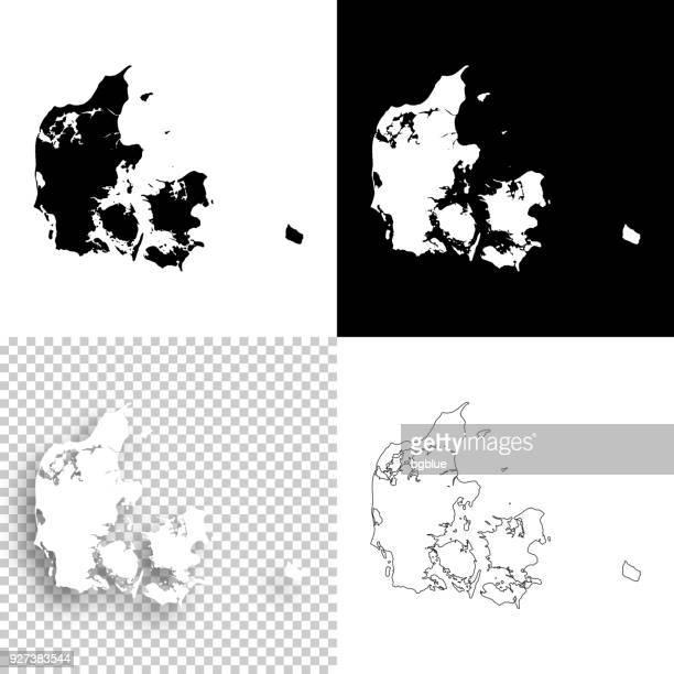 Denmark maps for design - Blank, white and black backgrounds