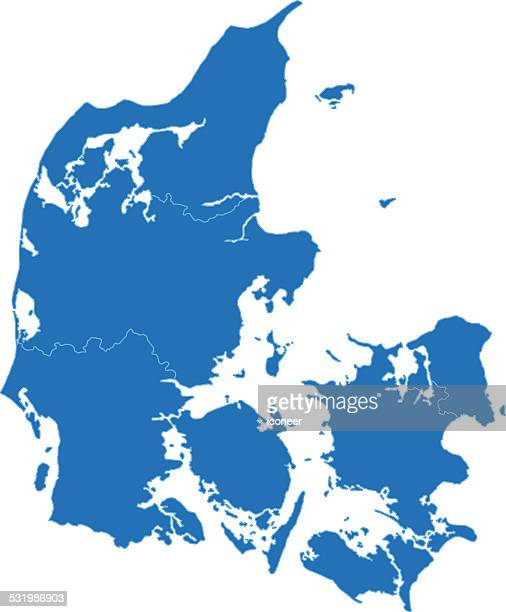 Denmark simple blue map on white background