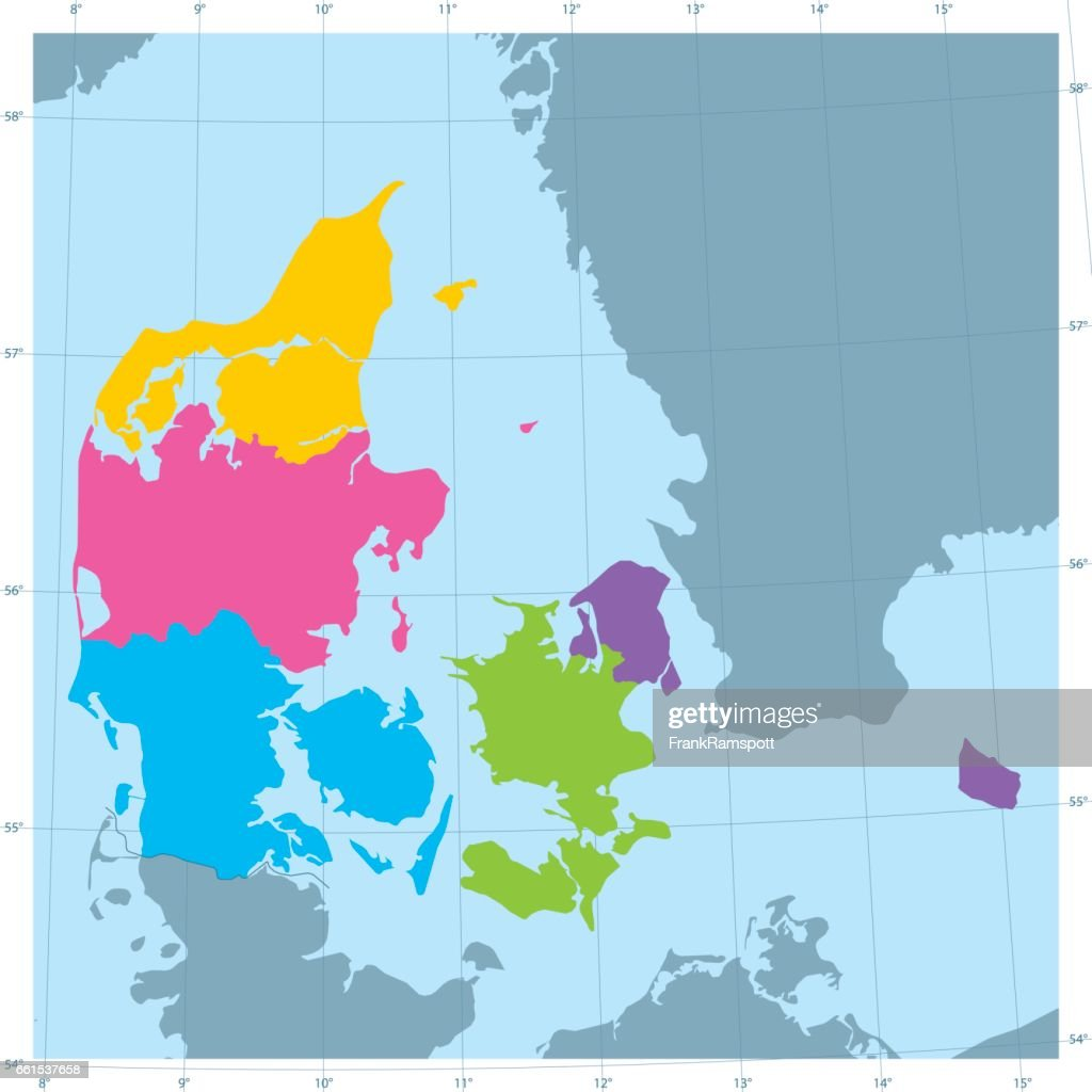 Denmark Vector Map Colorful Administrative Divisions Vector Art